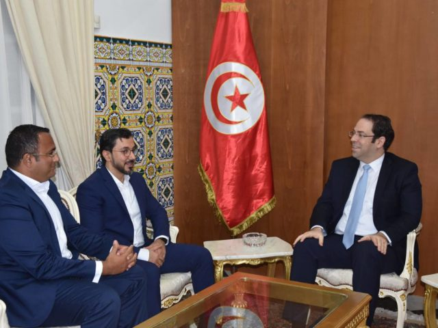 Meeting between Youssef Chahed, Head of Government of Tunisia and Hamed Ali, CEO of Nasdaq Dubai